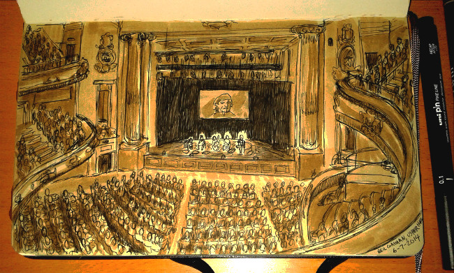 "Neil Gaiman and Four Play at Usher Hall, Edinburgh. They said ""no cameras"".... but not ""no sketchbooks"". Illustration by the author (this author)."